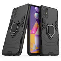 Armor Dual Layer case 360 Degree Rotating Metal Ring Holder Kickstand Shockproof Cover for Samsung Galaxy M31S