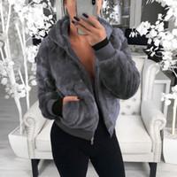 abrigo de piel de imitación de invierno de peluche chaqueta informal invierno caliente bolsillo Outwear capas de las señoras abrigo de las mujeres Outwear manteau fourrure femme 201028