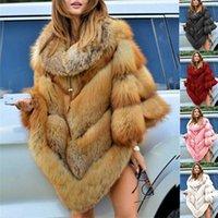 Faux Pelzmantel Frauen Fuchspelz Winter Warme Übergroßen Langarm Luxuskap Poncho Mantel Pullover Jacke Outwear Plus Size 201110