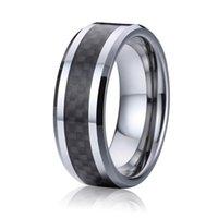 Classique carbure de tungstène anneau de 8 mm en fibre de carbone noir Alliances mariage anniversaire anneaux couple de bande de mariage pour les hommes et les femmes