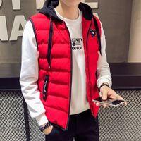 Anbican Mode rouge d'hiver Gilet Hommes capuche coupe-vent vers le bas Coton Slim Veste Manteau Survêtement Hommes Gilet Veste manches Casual