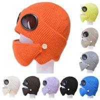 Kış Aviator Gözlükler Yüz Kalkanı Gözlük Kulak Koruma Cap Windproof Anti Toz Artı Kadife Sıcak Örme Şapka Bisiklet DDA749 Maske Maskesi