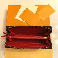 Portefeuille Clemence محفظة جودة عالية إمرأة أزياء أزياء طويلة محفظة عملة محفظة بطاقة حالة حامل بني للماء قماش الأبيض M60742