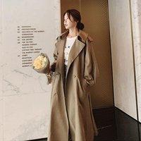 여성 트렌치 코트 여분의 느슨한 대형 사이즈 긴 코트 여성 패션 캐주얼 가을 의류 솔리드 윈드 브레이커 벨트 숙녀 outwear F1996