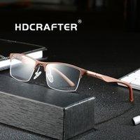 HDCRAFTER Ultraligh Titanyum Alaşım Reçete Optik Gözlük Çerçevesi Erkekler Yarım Jant Miyopi Göz Camı Erkek Gözlük Çerçeveleri için T200428