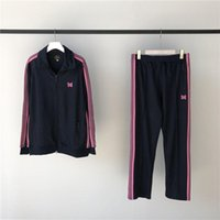 الشريط الوردي إبر AWGE بنطال رياضة الرجال النساء الرباط ركض إبر السراويل الفراشة التطريز AWGE بنطلون