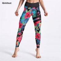 Qickitout Energético Leggings de mujer Flores de jungla con patrón de rayas Patrón de piernas de cintura alta de cintura de cintura de longitud inferior del tobillo 201203