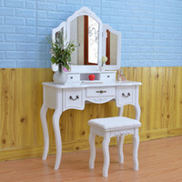 Tri- fold Mirror Dresser with Dressing Stool White