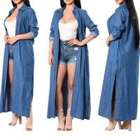 2020 casaco corta-vento Denim Trench Mulheres Casual Autumn manga comprida Sólidos lapela Pocket Plus Size X-Long