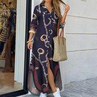 Женщины поворотный воротник рубашка длинное платье лето кнопка цепь печати платье повседневная осень с длинным рукавом пляж макси максимальный Vestido 4XL Y1221