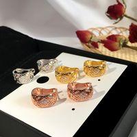 Феахион из нержавеющей стали C-образного бриллиантового уха избиение 18 тыс. Золотые серьги-гвоздики розовые золотые серьги для женщин