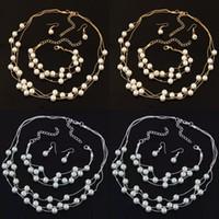 İmitasyon İnci Takı Seti Simüle İnci Çift Katmanlı Kadın Küpe Kolye Bilezik Düğün için Setleri 70 N2