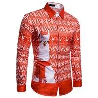 Camisas de vestir de los hombres Impreso de animales 3D de manga larga de otoño de la Navidad de la Navidad soltera de la oficina de la primavera de los hombres FSSHION Streetwear fiesta 3xl1