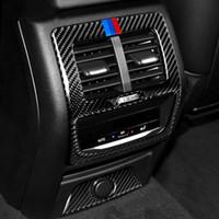 BMW G01 G02 2019 ~ 2020 X3 X4에 대한 자동차 후면 공기 상태 아울렛 벤트 프레임 커버 트림 후면 팔걸이 상자 탄소 섬유 인테리어 몰딩