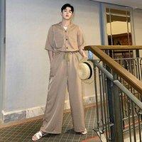 Calças masculinas na moda homens soltos maus slim cintura alta japonês macacão retro tendência manga curta um pedaço de verão largamente pumpsuit1