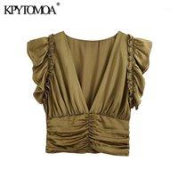 KPYTOMOA Kadınlar 2020 Moda ile Ruffled Pileli Kırpılmış Bluzlar Vintage V Boyun Kolsuz Geri Fermuar Kadın Gömlek Chic Tops1