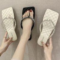 Chinelos de verão sapatos mulher quadrado cabeça clipe dedo do pé desgaste feminino fôris flip flip xx462