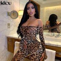 Tute da donna KLIOU Pantaloni Body Body Pantaloni Leopard Stampa Leopardo Two Piece Set Donne Senza spalline Sexy Sleeve Skinny Elastic Sexy Wild Stree