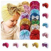 Kinder Mädchen Jungen Bowknot Turban Hüte Glitter Bögen Elastische Stirnband Baby Headwrap Mützen Stretchy Haarband Haarschmuck G10506