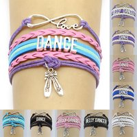 Infinity Love Dance Bauchtänzerin Charm Wickelarmbänder Rosa Geschenke Armbänder Leder Benutzerdefinierte Damen Herren Armband-Schmucksachen