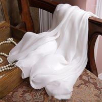Шарфы 100% шелковый шарф женщины белый твердый цвет мягкие элегантные чистые настоящие дамы женские зимние весна Sumerautumn1