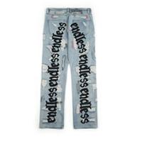 Sonsuz Erkekler Kadınlar Jeans Yüksek Kaliteli Hip Hop Denim Pantolon Embroideredy Broken Do Eski Delik Streetwear Jeans