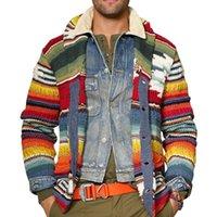 Мужские кардиганы напечатанные свитеры осень теплый рождественский свитер мужчины мода печатная куртка пальто повседневная воротник вязание