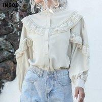 Ingoo Zarif Fener Uzun Kollu Şifon Gömlek Kadın Bahar Rahat Dantel Bayanlar Vintage Düğme Tops Beyaz Kayısı Fırfır Bluz Y200828