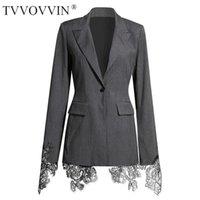 TVVVVIN Черные серые кружева женские сплит Соединение Blazer New rapel с длинным рукавом стройная высокая талия, зубчатая нотальная кнопка Blazer 2021 jsfn1