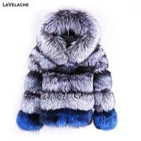 Lavelache 2020 Gerçek Kürk Kısa Ceket Kadınlar Doğal Gümüş Kürk Mont Kadın Kış Moda Parkas Ayrılabilir Yaka1