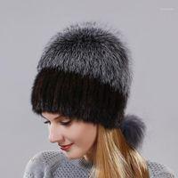Mütze / Schädelkappen echte und natürliche silberne pelz warme winterkappe für frauen gute qualität ohrhut in der hinteren cap1