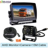 "7"" IPS HD SD DVR Recording 2CH Split 4Pin Car Rear View Monitor + 4Pin Waterproof AHD 1080P Reversing Backup Camera For Bus Truck"
