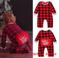 6-24 ay Yenidoğan Bebekler Romper Noel Santa Bebek Tulum Buffalo Ekose Pantolon Erkek Bebek Kız Tasarımcı Giyim Noel Pijama LY11021