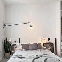 Duvar lambası tasarımcısı ayarlanabilir antika modern endüstriyel / uzun salıncak kol ışıkları banyo vanity / aplik fikstürü için