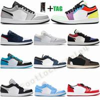 2021 جديد منخفض الأعلى أحذية رياضية 1 ثانية الدخان رمادي unc usa باريس تويست المحظورة الليزر الأزرق jumpman 1 منخفضة كرة السلة أحذية الرجال النساء المدربين