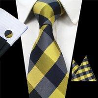 JEMYGINS Новая мода плед Tie Set 100% Silk Jacquard Мужчины галстука Gravatá Hanky Запонки Комплект Платок Mens Tie для свадьбы