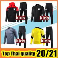 20 21 TrackSuit Football Formation Long Kids Football Vestes 2020 2021 Garçon Full fermeture à glissière à capuche Maillot de pied