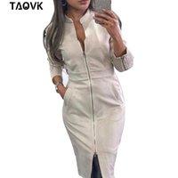 Taovk vestido feminino manga comprida bodycon zíperes vintage carrinho escritório vestidos femininos y0118