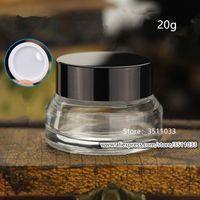 20g de alta calidad transparente tarro de cristal cosmética Negro Tapa de bricolaje Crema de ojos Claro tarros Corrector Pequeño Mini