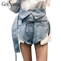 Gestring Denim Pants High Vita Breve Breve Jeans New Light Blue Jeans Estate Donne femminili Tutte le partite Hot Jeans con Belt SML Y200822