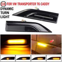 2pcs Clignotant dynamique Indicateur Marqueur latéral Turn Signal Signal pour VW Transporter T5 T6 Multivan Caddy MK4 LED Lampe séquentielle