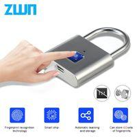 ZWN H1 Bearless USB аккумуляторный отпечаток пальца Smart Padlock Быстрая разблокировка дверной замок цинковый сплав металл саморазвивающийся чип Y200407