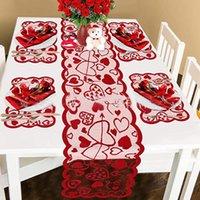 Decoraciones del día de San Valentín Conjuntos de mesa de San Valentín Corredor de mesa y placas Placems Magss Pads para el hogar Aniversario de boda Party HH21-45