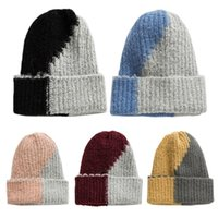 Unisex Winter Ribbed Knitted Stretchy Beanie Hat Color Block...