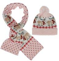Moda bambini Pom Pom Beanie Sciarpe Imposta di Natale Elk a maglia Sciarpe Bambino calda inverno Pompom Cappelli Skullies Beanie Hat regalo di Natale