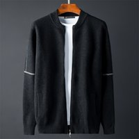 Minglu Noir Stand Collier Pull Hommes Luxe Tricoté Solide Couleur Spring Spring Spring Spring Automne Slim Sweaters Man Plus Taille 4XL 201023