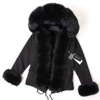 Маамаоконг черная лиса меховой воротник зимнее пальто женская куртка натуральный меховой зайчик подкладки куртка пальто 201217