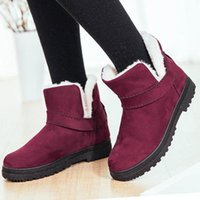 QGXSSHI 2020 Femmes Boot Chaussures d'hiver femme ronde orteils au chaud Bottes de neige Femme Plateau plat Bottines Noir Mujer Plus Size