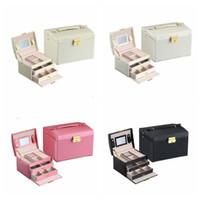 PU joyero de cuero de tres capas de doble gaveta de la caja cosmética princesa joyería caja de almacenaje funcional estante grande EEC3418 almacenamiento