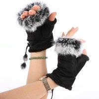 5 개의 손가락 장갑 여성 가짜 모피 핸드 핑거리스 장갑 따뜻한 가죽 스웨이드 따뜻한 손목 gloveswinter